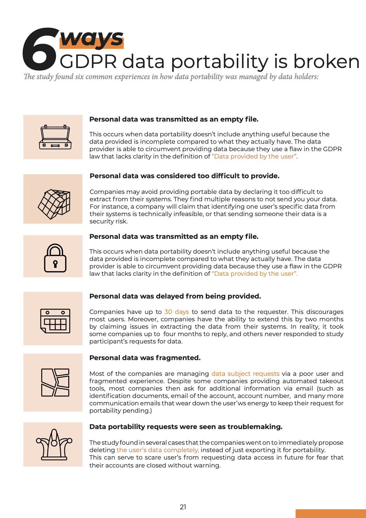 Image of the '6 ways GDPR data portability is broken in practice' part of the GDPR Report