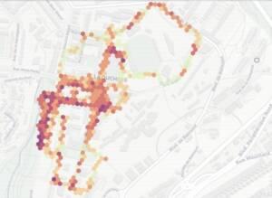 extrait de données du bruit par l'application Noise Capture sur ville de Lyon en 2019