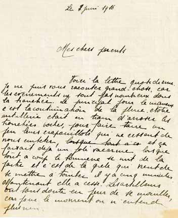 Extrait lettre de René Lambert à ses parents-8 juin 1916 /Archives privées