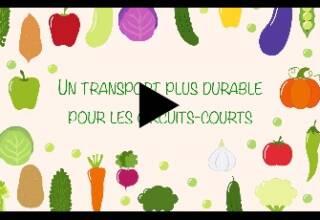 présentation du titre un transport plus durable pour les circuits courts, illustrée par des fruits et légumes