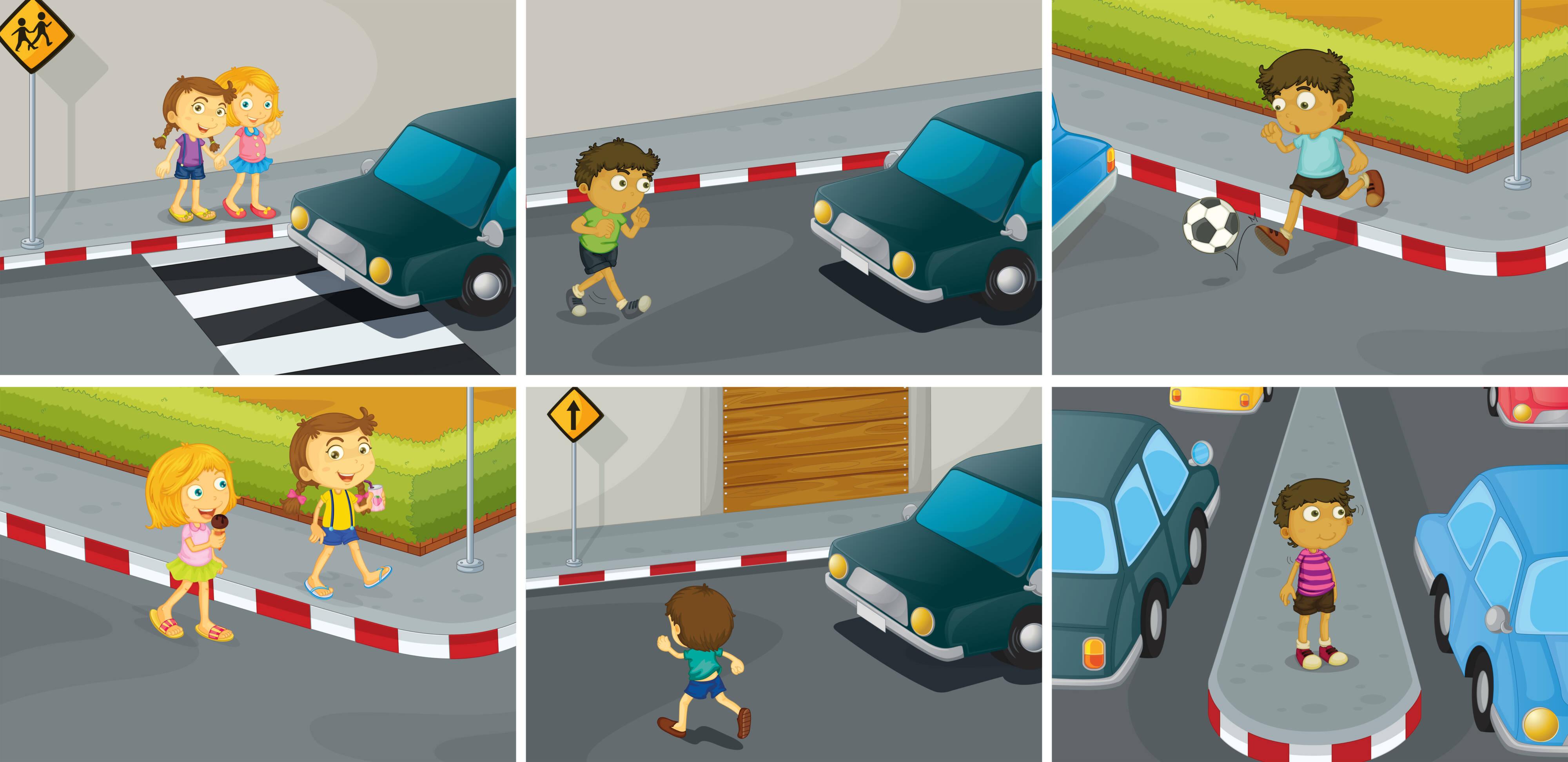 6 scenettes avec enfants dans la rue