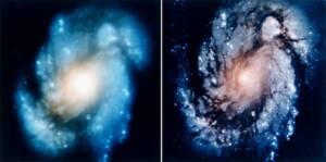 Illustration proposant une comparaison entre deux photographies prises par le télescope spatial Hubble, révélant une nette amélioration de la netteté après la maintenance de décembre 1993