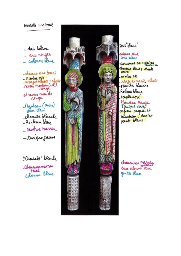 Schéma des couleurs - Statues colonnes cathédrale de Chartres