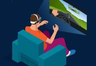 illustration d'un joueur devant jeu de simulation de conduite