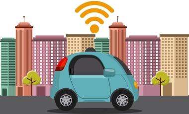 Illustration un véhicule autonome en ville