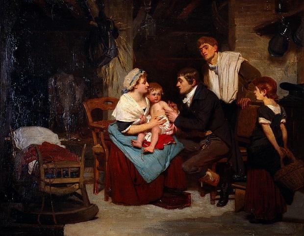 Edouard Jenner en train de vacciner un enfant, peinture sur huile
