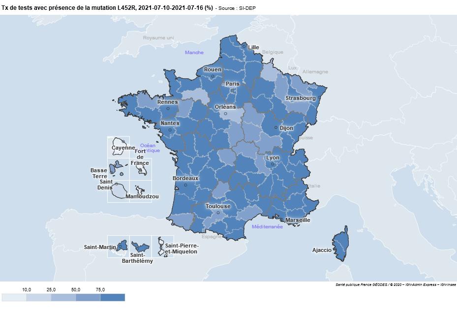 taux de présence du virus Delta en France le 23/07/21