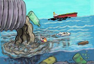 Illustration de la pollution des océans : rejets d'ordures