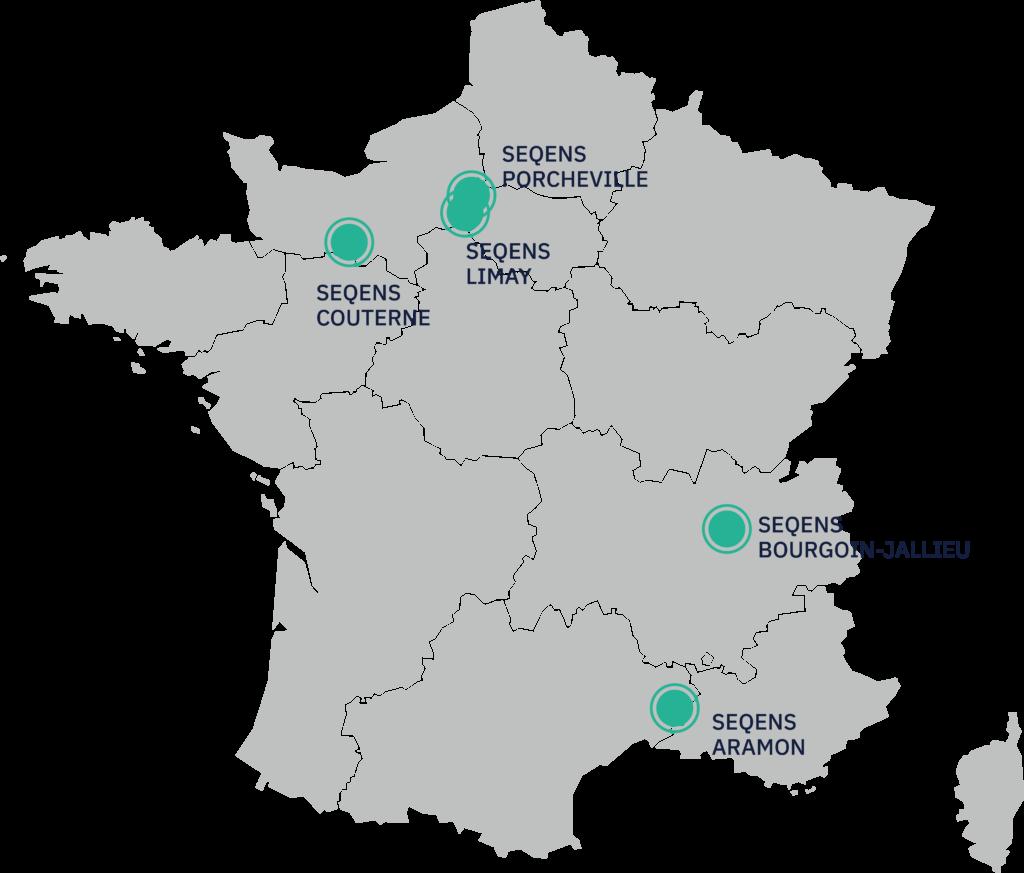 Cartographie des 5 projets SEQENS retenus dans le cadre de l'Appel à Manifestation d'Intérêt du gouvernement