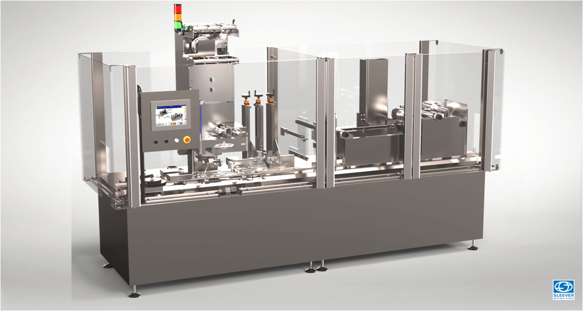 A compact packaging equipment with a Sleeve Label Application Head and a shrink tunnel