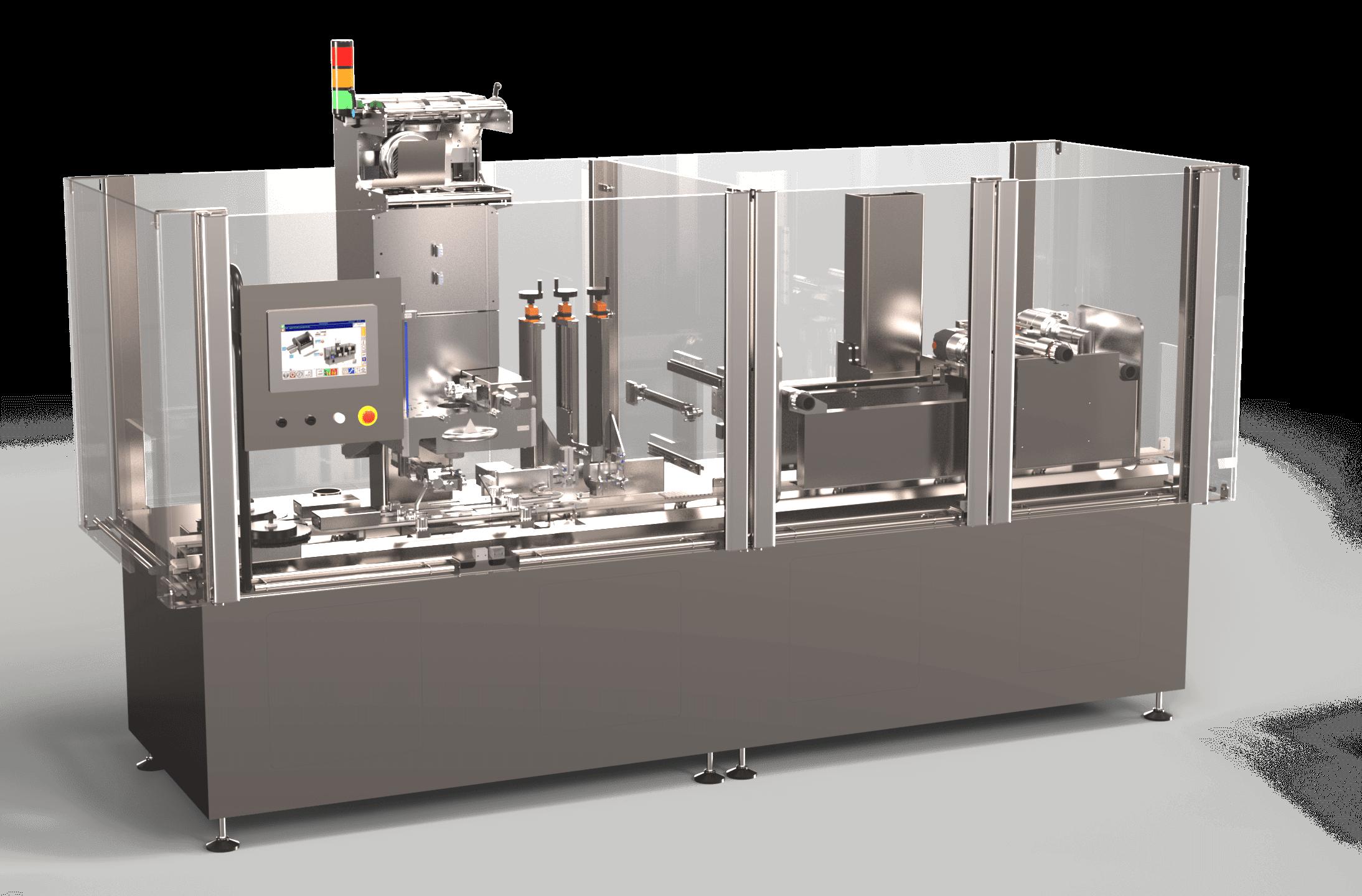 Machine de conditionnement incluant un Module de rétraction et de pose des Emballages Sleeve