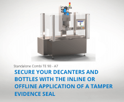 The packaging machine for the application of tamper-evident labels on glass bottles, decanters and flasks