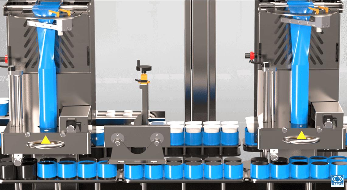 Double Sleeve label applicator head in parallel