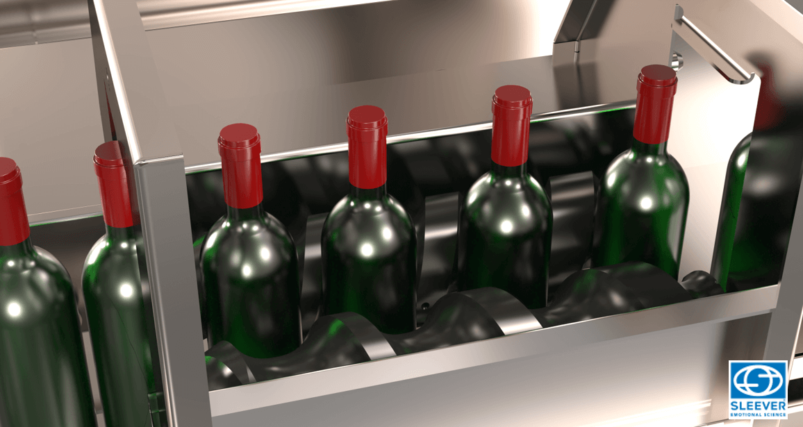 Glass bottles are correctly aligned and oriented by the grouping screw before receiving the Shrink Sleeve label
