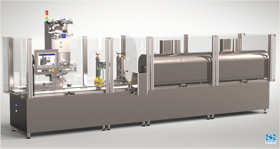 A Packaging equipment including a Sleeve shrink label applicator head and a shrink tunnel