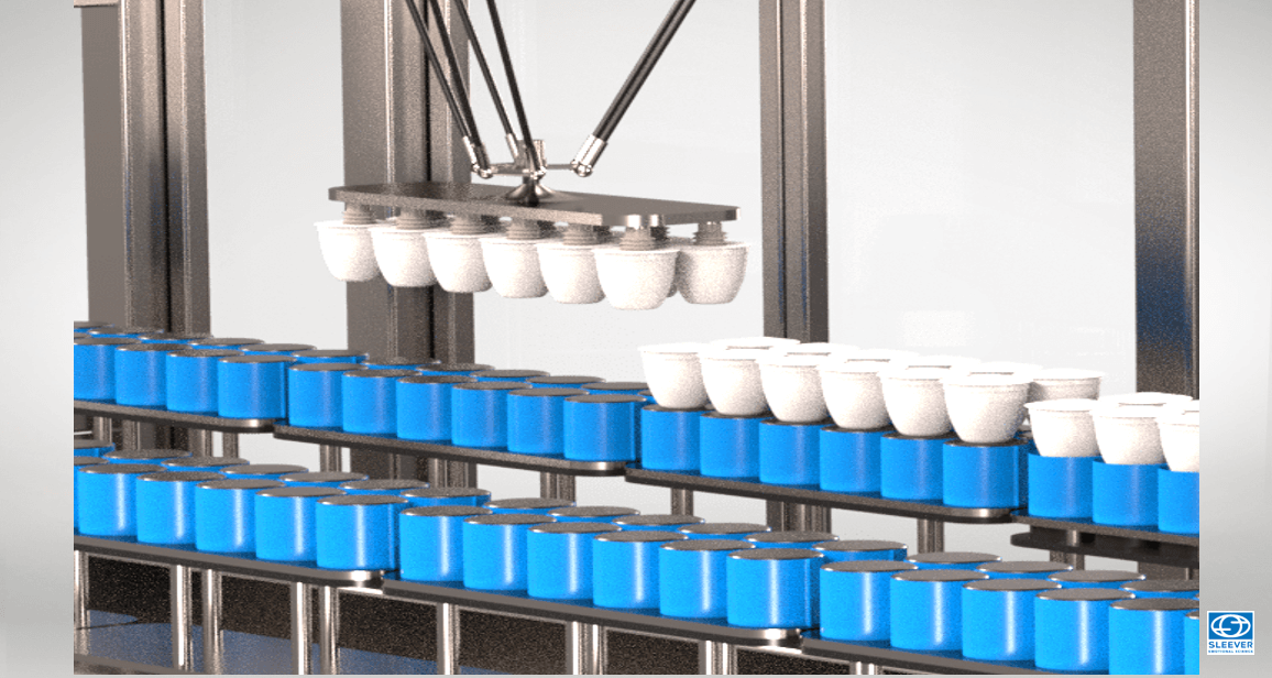 Automatic loading and unloading of food jars on the production line