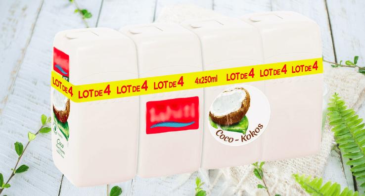 Quatre produits d'hygiène regroupés en Lot promotionnel avec un Sleeve rétractable