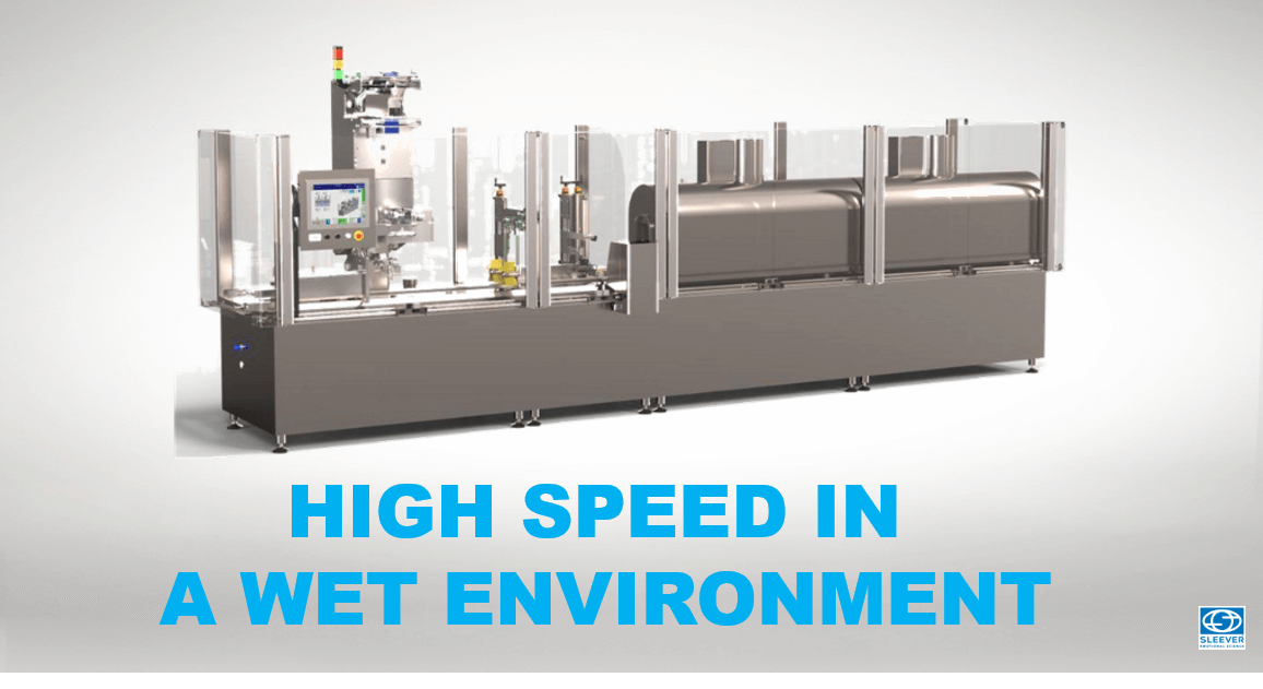 A packaging machine adapted for high speed production batches in aseptic and humid environments