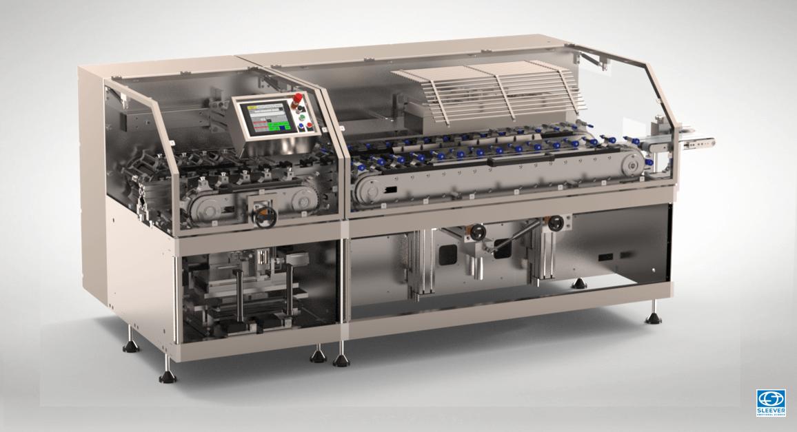 Machine de conditionnement pour la pose et rétraction horizontale de l'étiquette Sleeve