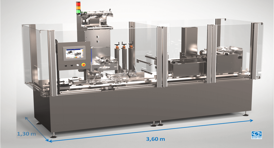 Compact machine with a small floor footprint to optimize production line space