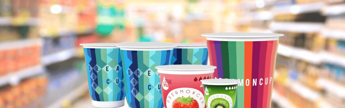 Des pots alimentaires emballés avec un Manchon rétractable éco-conçu