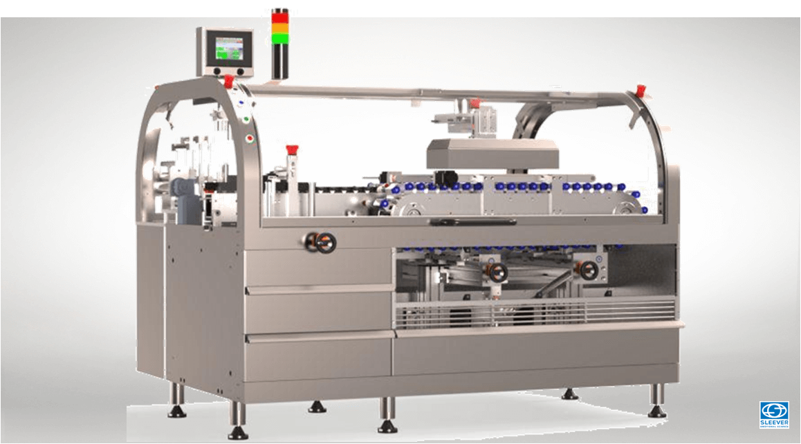 Packaging machine for the horizontal application of the Shrink  Sleeve packaging
