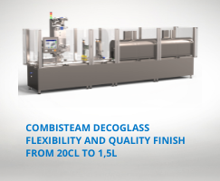 A packaging machine adapted for various sizes and formats of glass containers, from 20cl to 1.5L