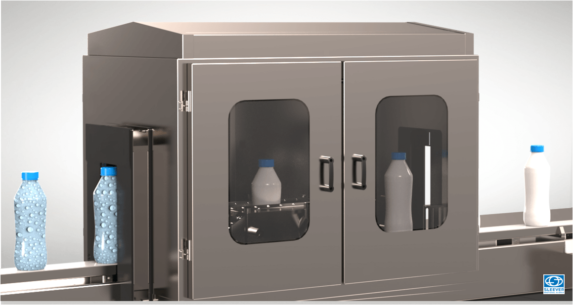 An equipment equipped with dryers at the entrance and exit of the tunnel, allows to remove all traces of humidity on the bottles to be conditioned