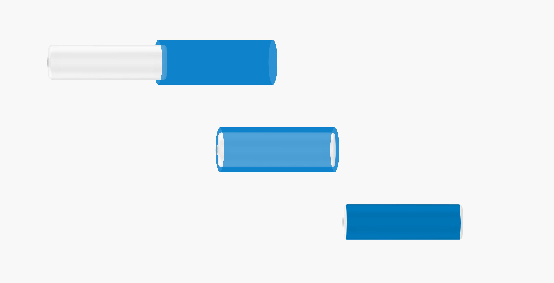 Illustration de la pose de l'étiquette rétractable Sleeve sur un petit produit de Beauté avec pose horizontale
