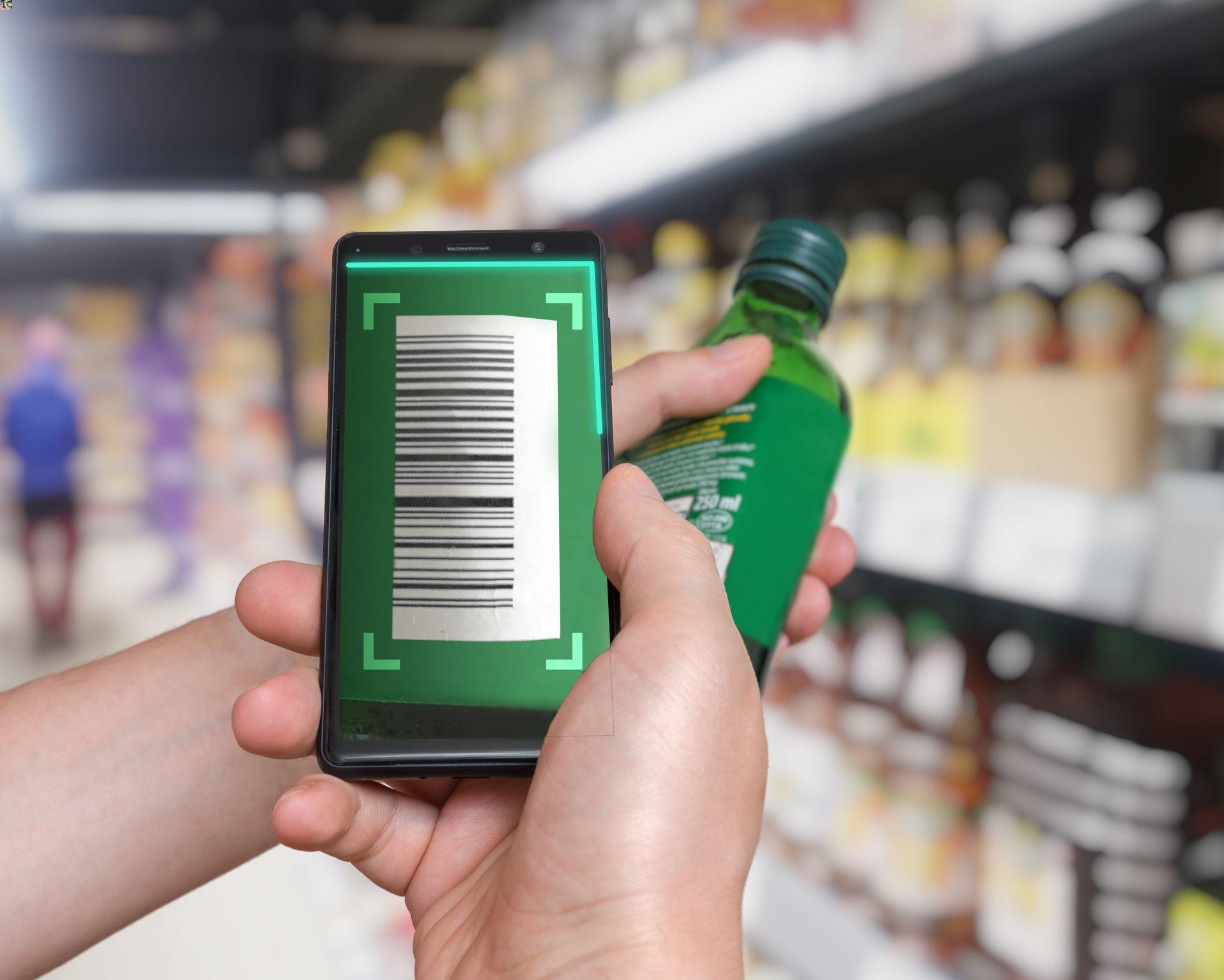 Scan par Smartphone d'un code barre de produit en rayon de supermarché