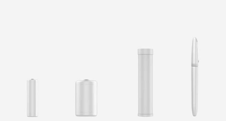 Formes d'emballages d'objets du quotidien (pile, stylo)