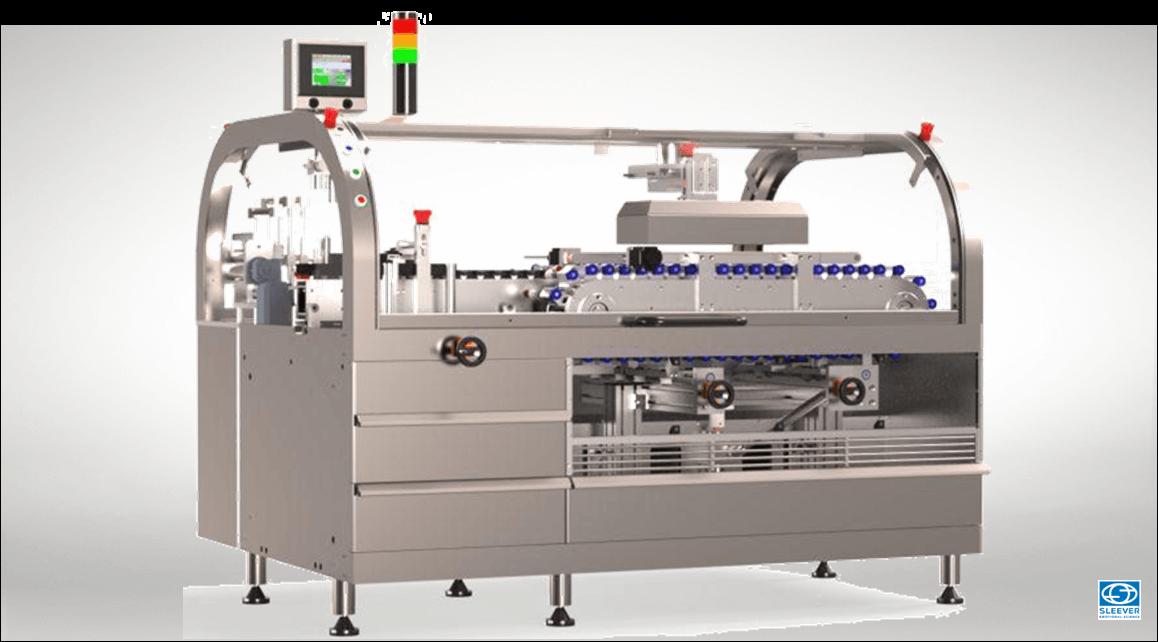 Une machine de conditionnement pour une pose et rétraction horizontale des étiquettes rétractables Sleeve