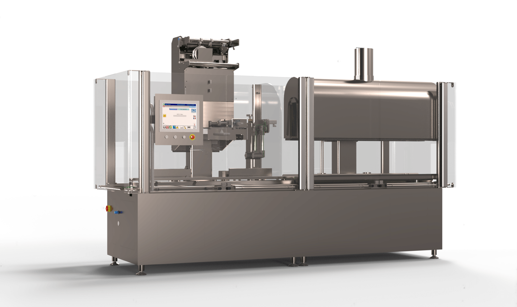 A compact packaging machine including a Sleeve label application head and a shrink tunnel