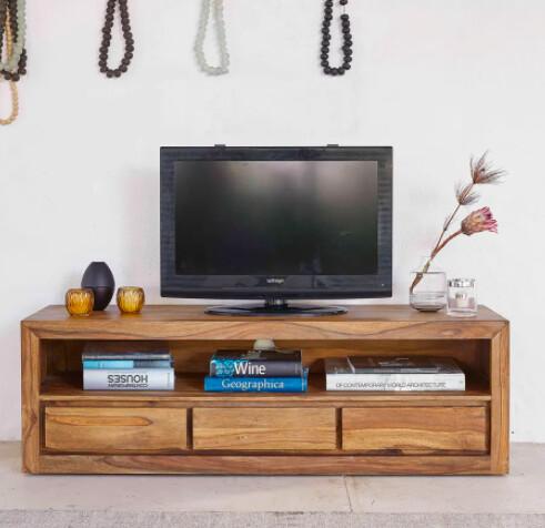 Meuble TV 3 tiroirs en sheesham massif et acacia | Maisons du Monde