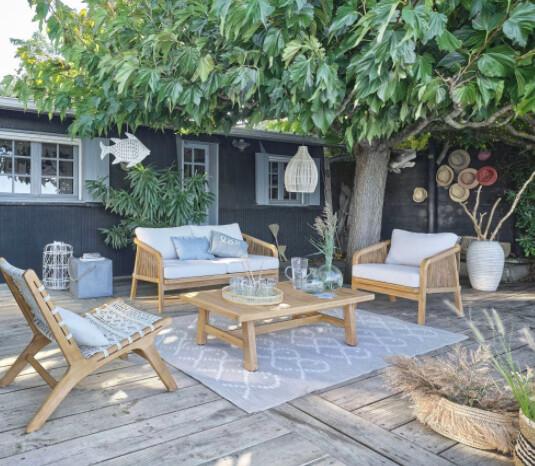 Fauteuil de jardin professionnel en acacia, corde écrue et acacia imitation teck blanchi | Maisons du Monde