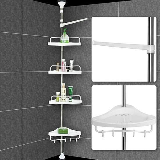 Tag re t lescopique d 39 angle de douche hauteur r glable - Etagere d angle telescopique douche ...