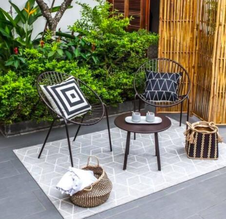 Salon de jardin en métal 2 personnes ORIA Noir