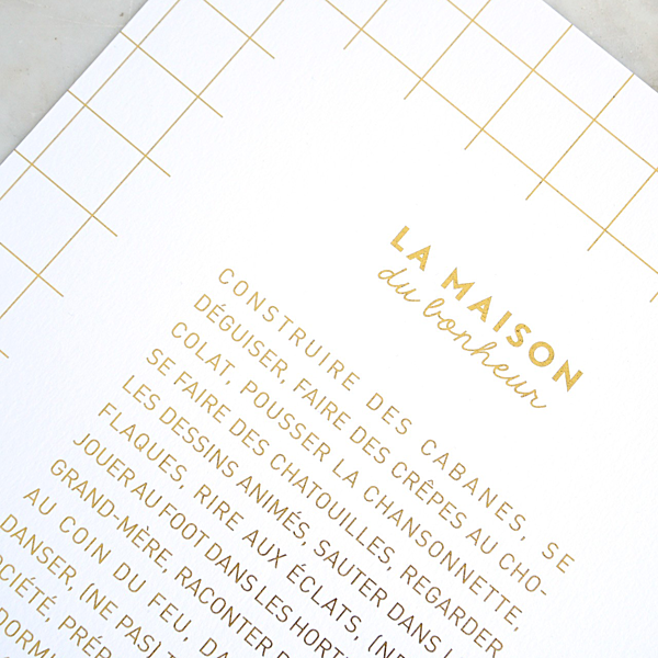 """L'affiche """"La maison du bonheur"""" dorée à chaud - 30 x 40 cm"""