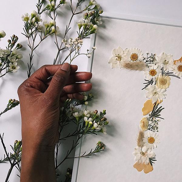 Herbier tons blancs - Lettre au choix