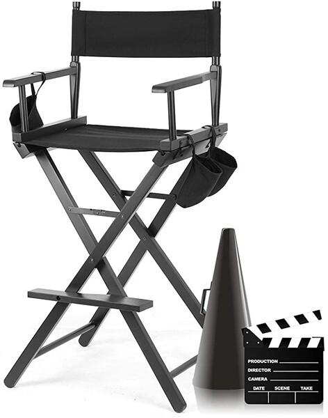 Chaise de Directeur Pliable, Chaise Maquilleur Pliante Tabouret de Directeur en bois Salon Make Up avec sacs de côté Noir pour Maquillage Artiste Directeur Pédicure Pêcheur, Taille: 55,5x119,5cm: Amazon.fr: Cuisine & Maison