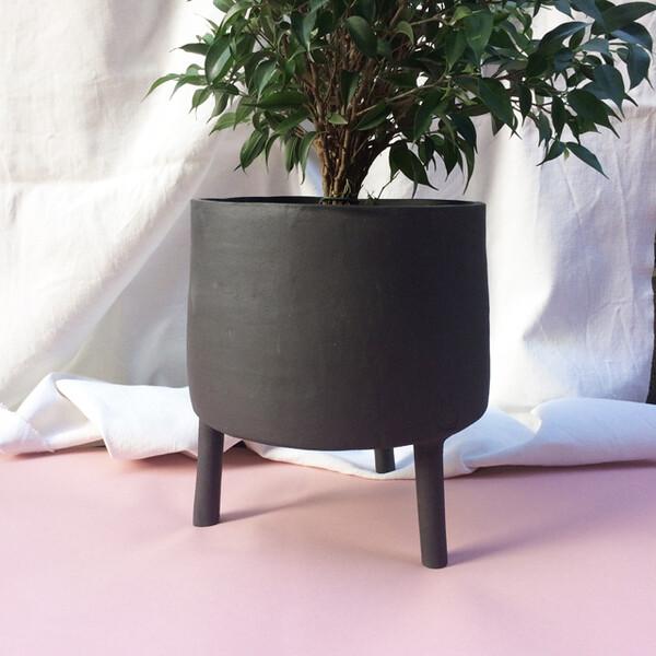 Tripode cache-pot céramique noire 100% française - plusieurs tailles