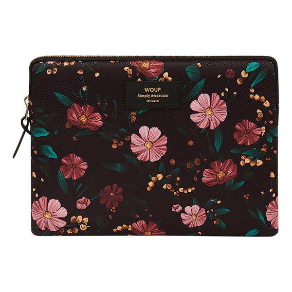 Pochette iPad en toile Black Flowers Wouf Design Adulte